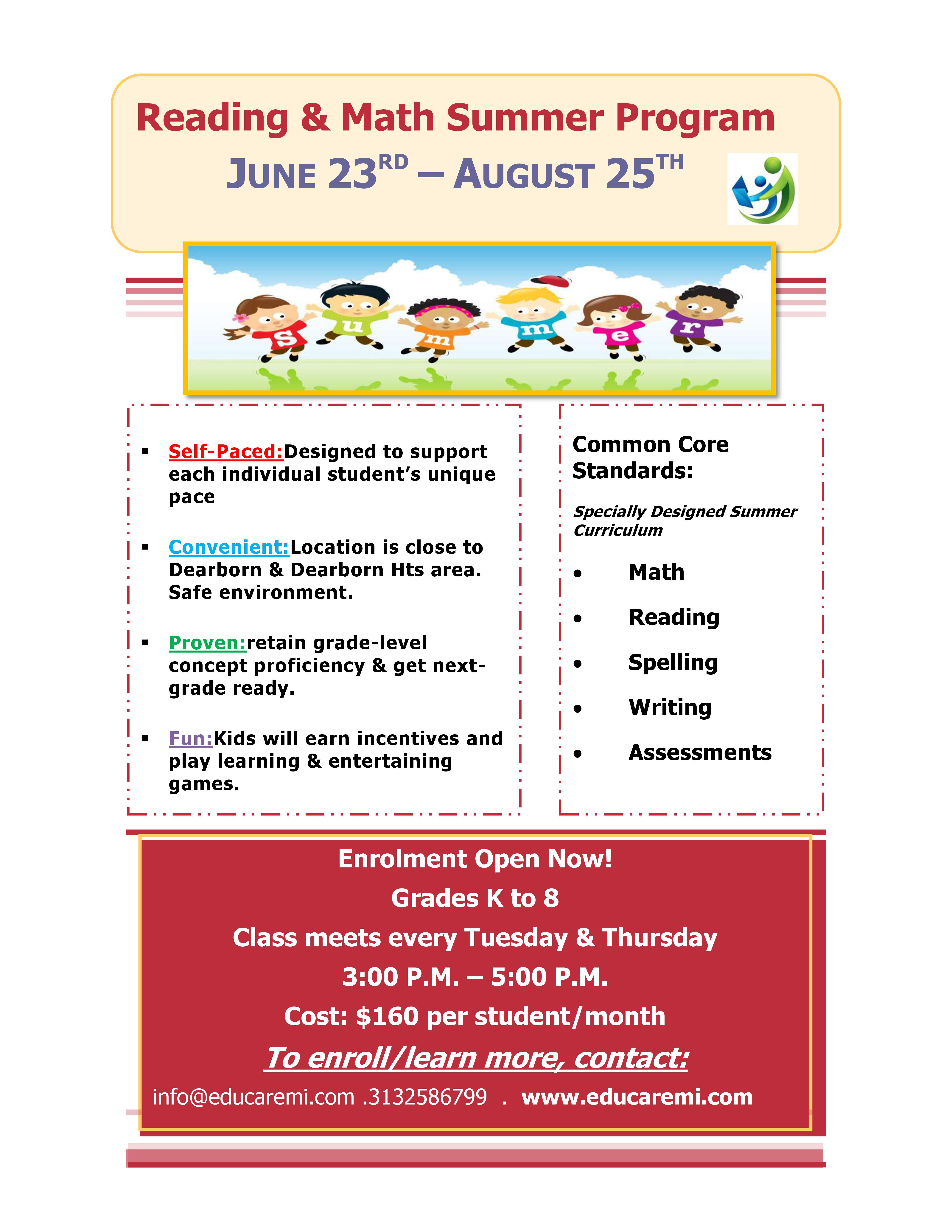 Reading Comprehension & Math Summer Program